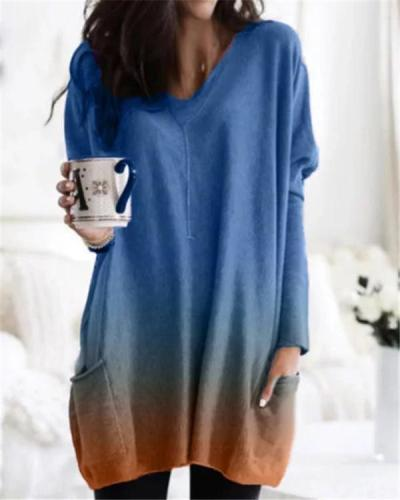 Oversized Gradient V Neck Fall Fashion Casual Daily Women Blouse