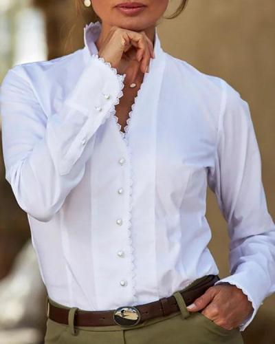 White Cotton-Blend Paneled Long Sleeve Blouses
