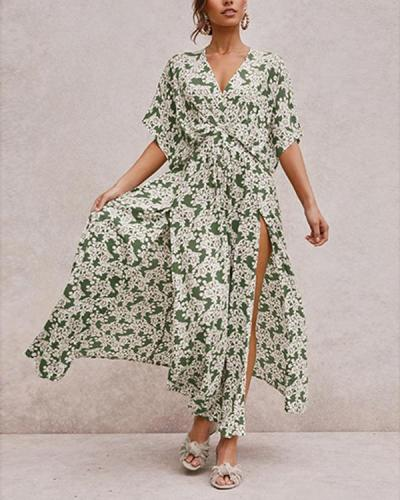 Floral Print Short Sleeve Vintage Maxi Dress