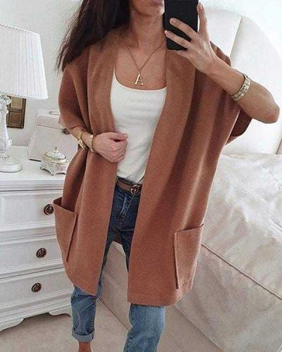 Women Sexy Woolen Unbuttoned Loose Cardigan