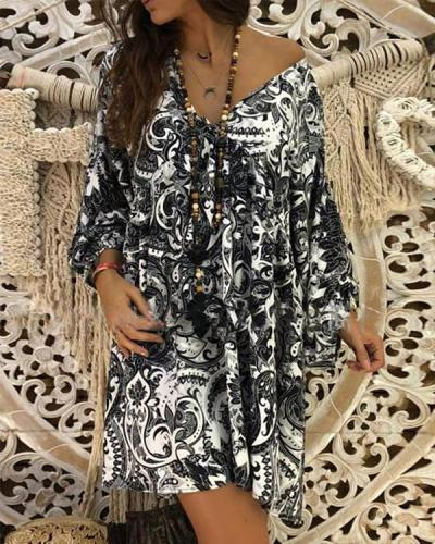Plus Size Print Long Sleeves Shift Above Knee Boho/Vacation Dresses