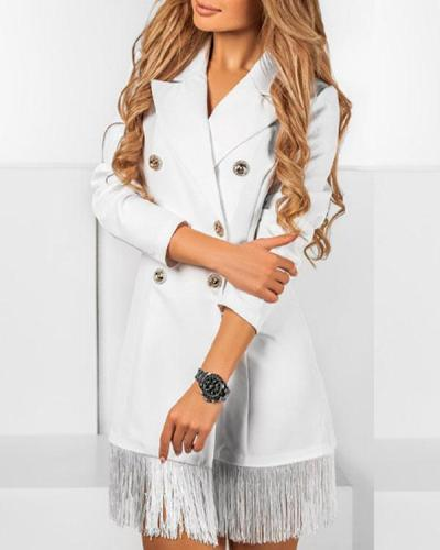Women Double-breasted Tassel Elegant Blazer