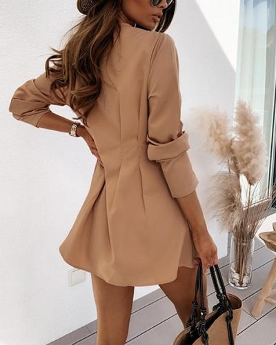 Solid Slim Pleated Long Sleeve Tight Waist Shirt Dress