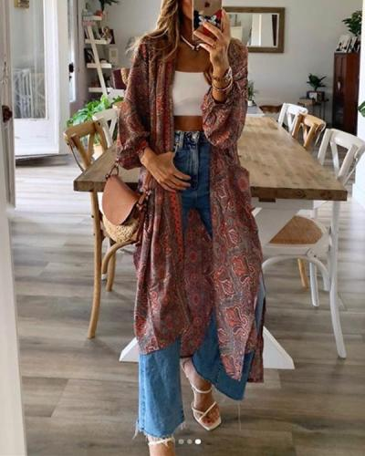 Women's Boho Cardigan Casual Long Coat