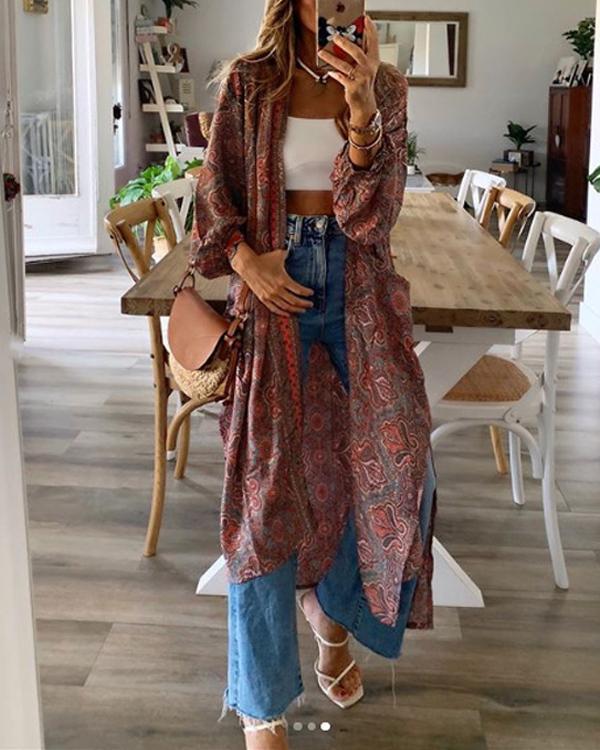 Women's Boho Cardigan Casual Long Coat