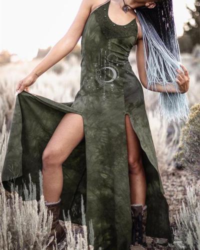 Women's Retro Dyeing Lace Print Split Dress