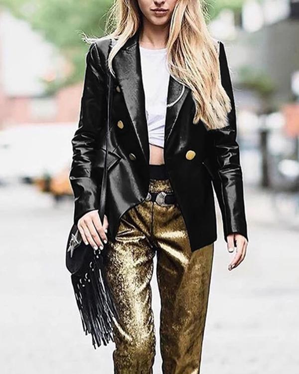 New Fashion Turndown Collar Button PU Coats