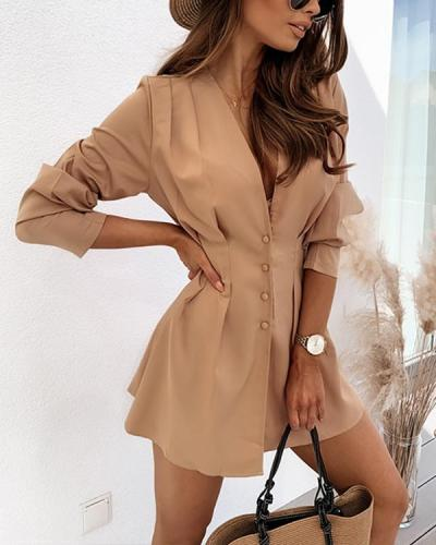 Solid Slim Pleated Long Sleeve Tight Waist Shirt Dress
