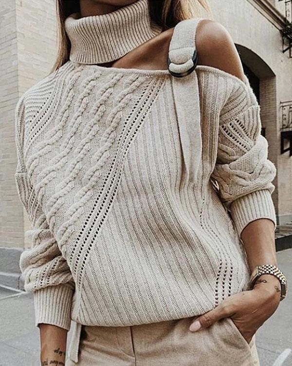 Casual Single Shoulder Collar Pure Color Sweater