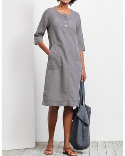 Holiday Linen Women Pocket Dress
