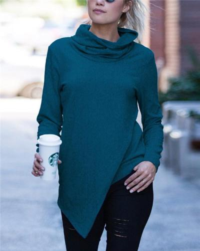 Irregular NeckChief Solid Fall Daily Casual Blouse