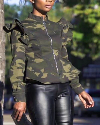 Green Camouflage Printed Short Jacket