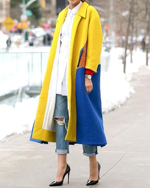 Fashion Lapel Color Blocking Plain Windproof Woolen Long Coat