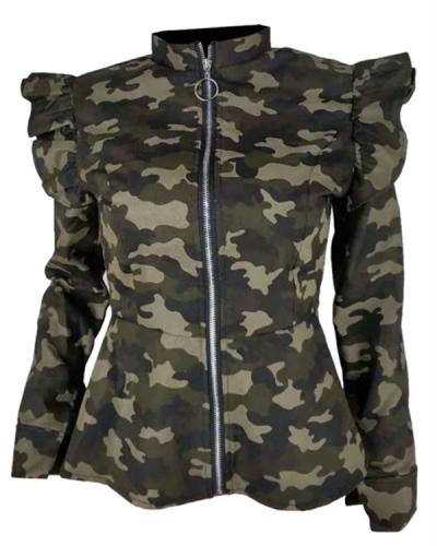 Green Camouflage Printed Short Jacket