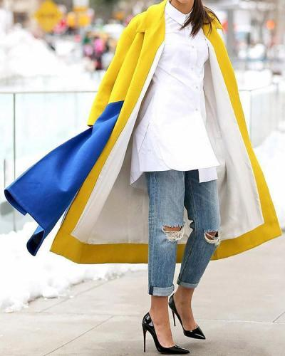 Fashion Lapel Color Blocking Plain Windproof Woolen Long Coat