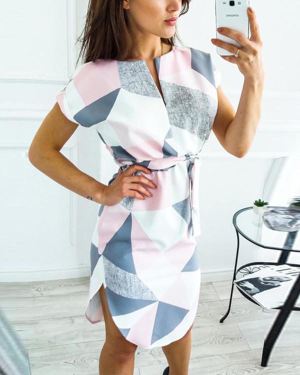 Casual Geometric Sashes Wrap X-line Dress