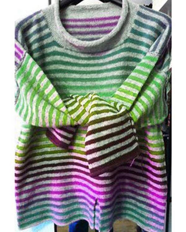Fashion Crew Neck Casual Striped Blouses