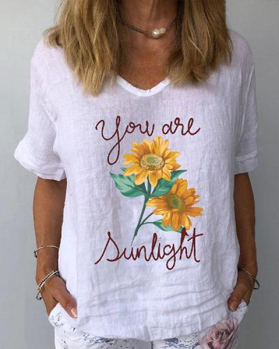 Short Sleeve Sunflower Print Casual Women T-Shirts