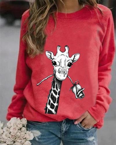 Animal Print Casual Round Neckline Sweatshirts