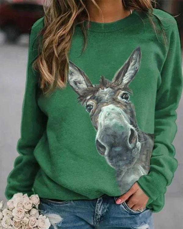 Women Animal Print Casual Round Neckline Sweatshirts Tops