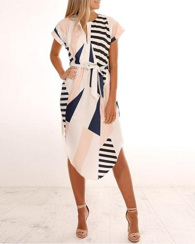 Casual Geometric Sashes Wrap X-line Dress