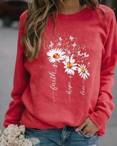Women Floral Print Casual Round Neckline Sweatshirts