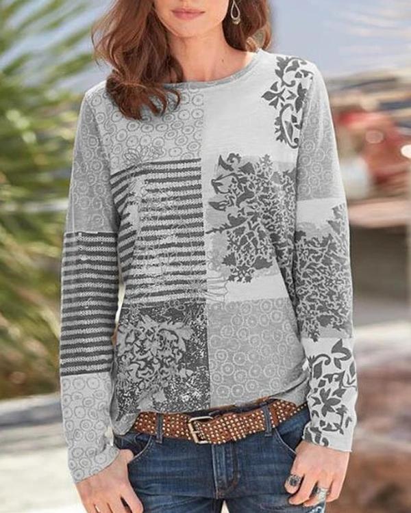 Printed Casual Long Sleeve Shirts & Tops