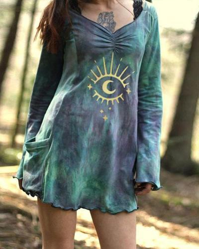 Women's Vintage Dye Print Pocket Long Sleeve Dress