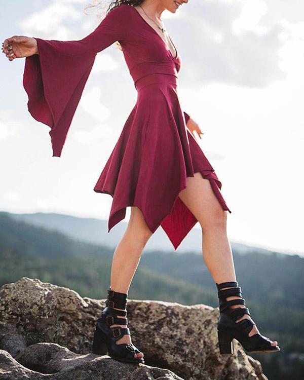 Women's Vintage Long Sleeve  Dress