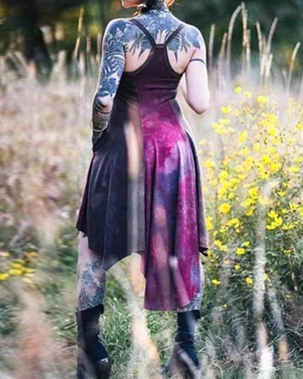 Women's Vintage Dyed Strap Irregular Hem Dress