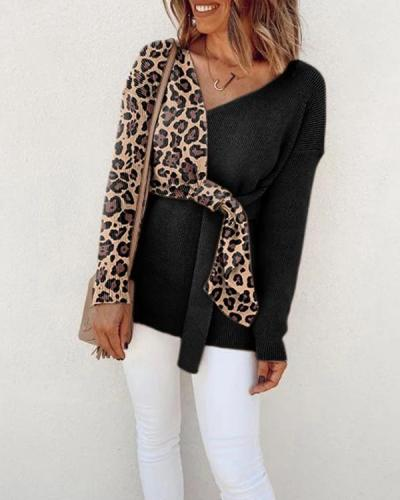 Leopard Print V-neck Long Sleeve Sweater