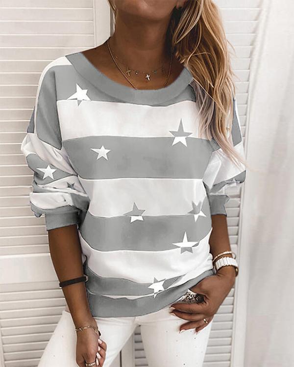 Stripe Star Print Casual Round Neck Daily Sweatshirt