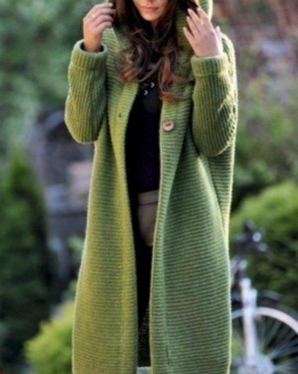 Casual Knitted Long Sleeve Solid Hoodie Coat