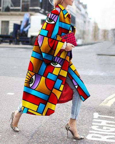 Fashion Colorful Printed Long Sleeve Coat