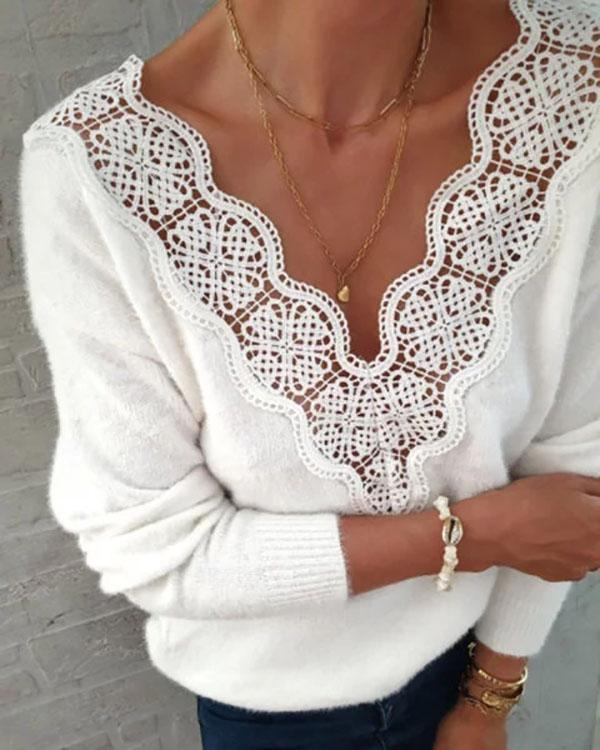 Casual Shift Floral Guipure Lace Blouse Tops