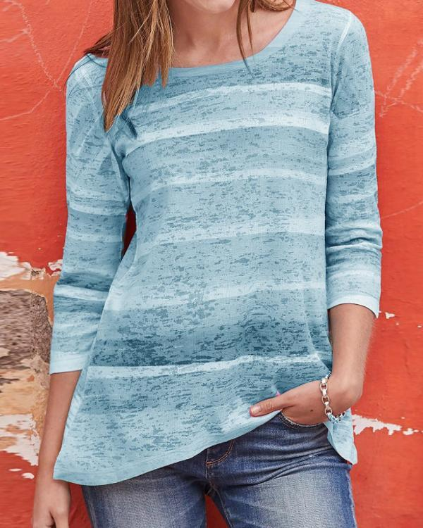 Colorful Striped 3/4 Sleeves Casual T-shirts