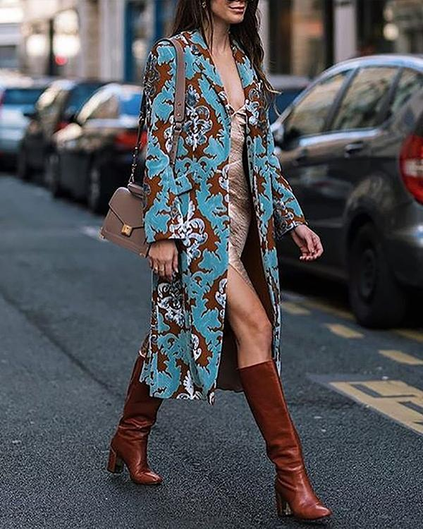 Fashion Printed Long Sleeve Elegant Overcoat