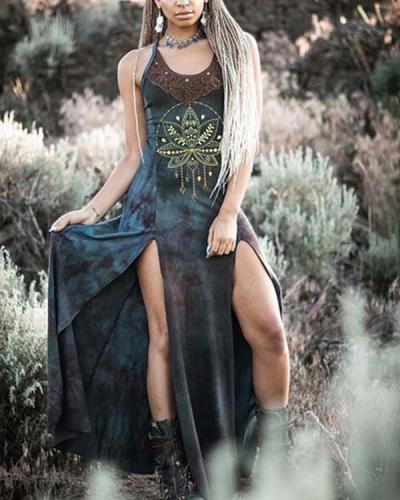 Women's Retro Tribal Dyeing Sexy Split Slim Dress