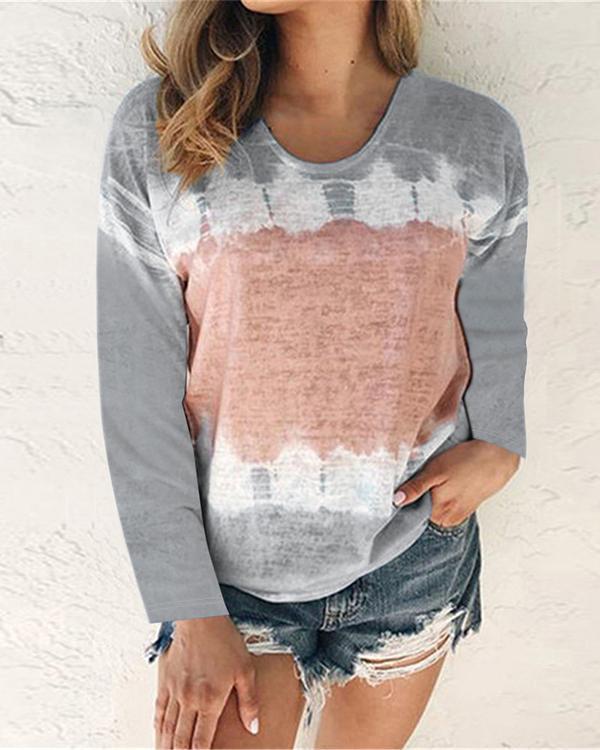 Women Tie Dye Print Casual Long Sleeve Shirts