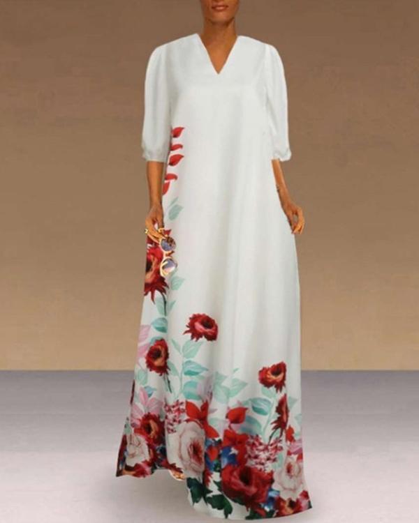 Fashion Women Casual Plus Size V-Neck Flower Print Half Sleeve Loose Maxi Dress