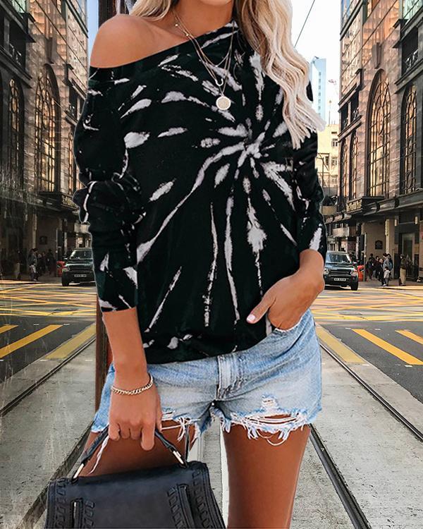 Women Daily Tie Dye Long Sleeves Sweatshirts