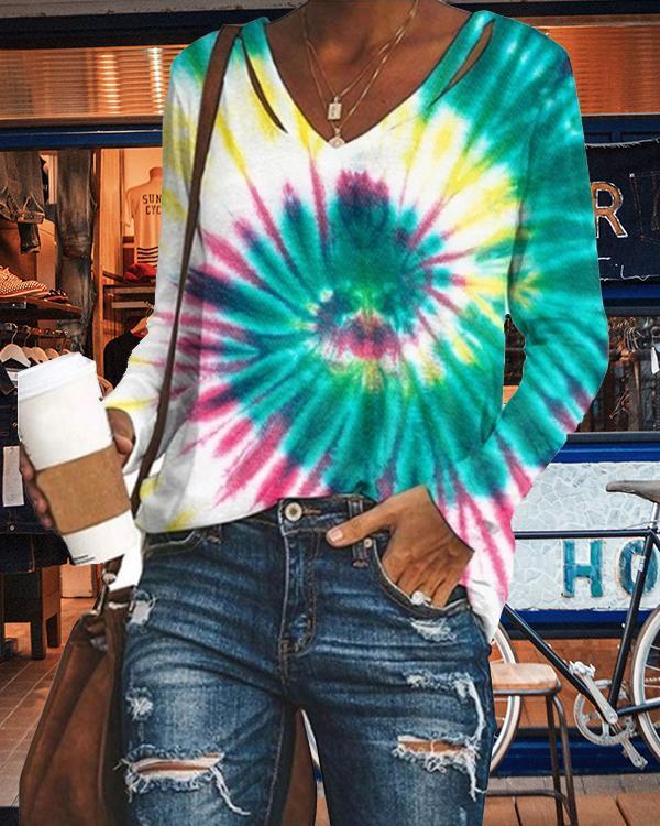 Women V-neck Casual Tie Dye Shirts