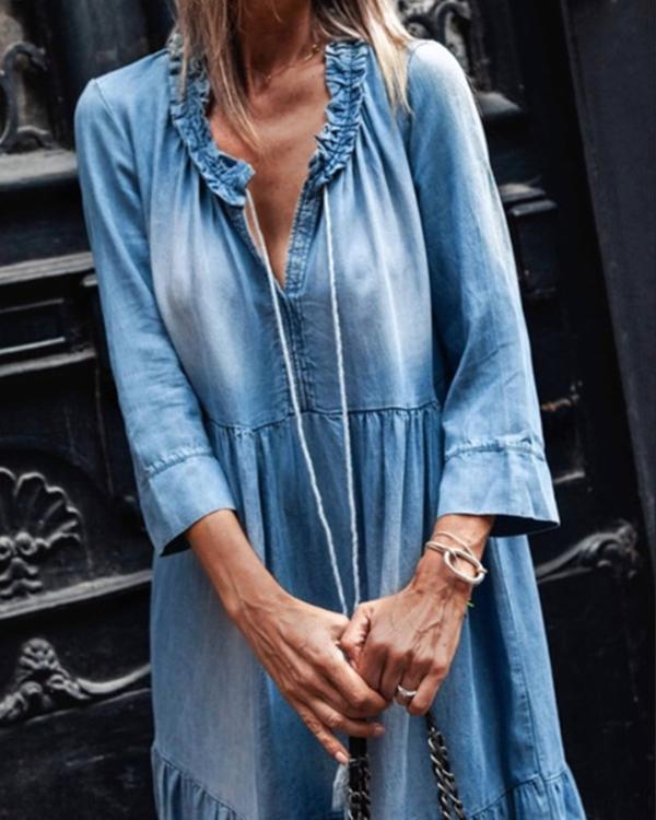 Women's 3/4 sleeves Denim Ruffled Maxi Dress