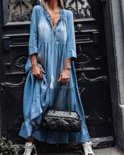 Women's 3/4 sleeves Denim Ruffled Maxi Dress
