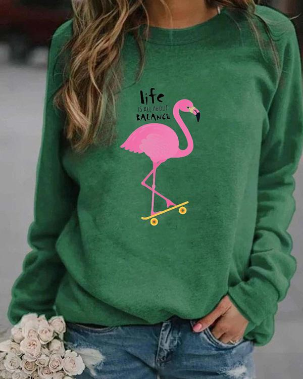 Animal Letter Print Casual Round Neckline Sweatshirts Tops