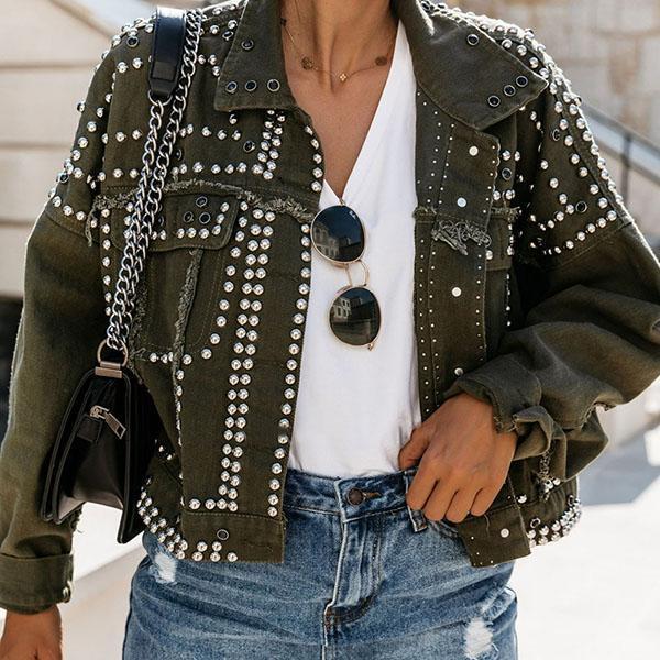 White Button Down Studded Long Sleeve Fashion Denim Jackets Women Jacket