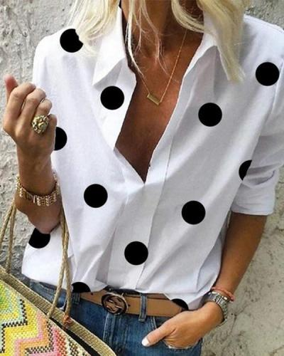 Polka Dot A Lapel Long Sleeve Blouse