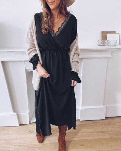 Casual Long Sleeve Solid Colour Elastic Maxi Dresses