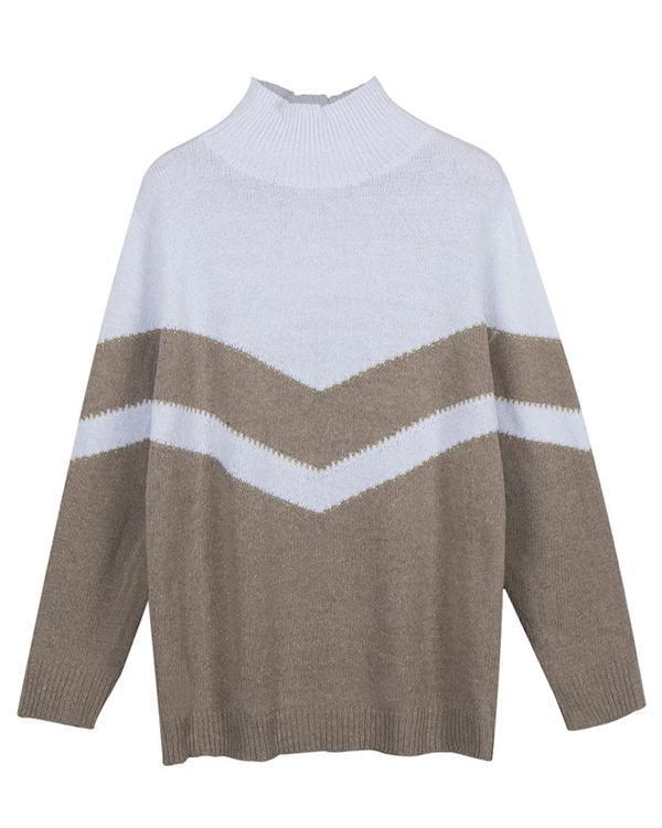 Casual Loose Contrast Pullover Sweater