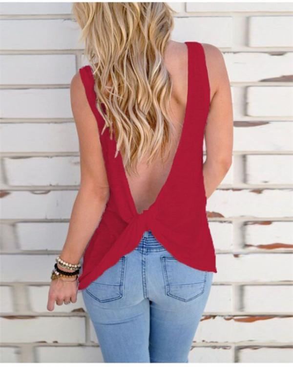 Solid Color Open Back Tank